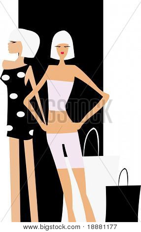 vector image of two fashionable girls