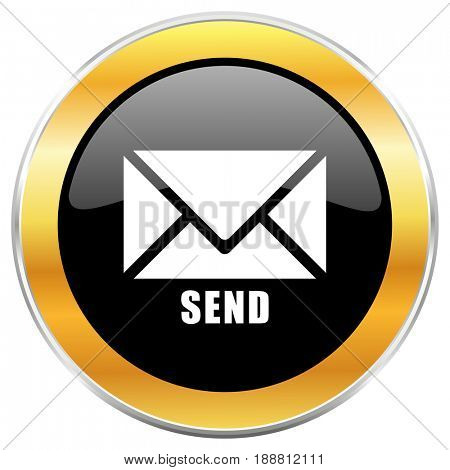 Send black web icon with golden border isolated on white background. Round glossy button.