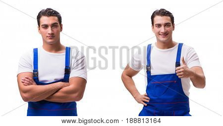 Handsome repairman wearing blue coveralls on white