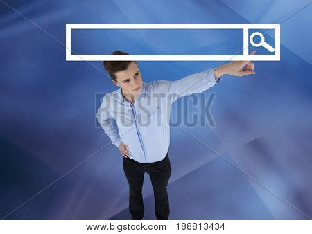 Digital composite of Woman pointing at Search Bar with abstract background