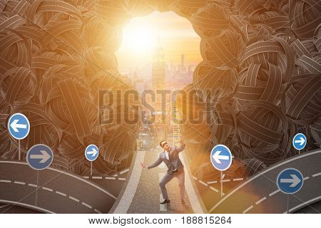 Businessman in uncertainty business concept