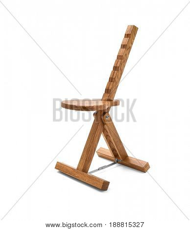 Wooden painter chair isolated on white, Clipping path included