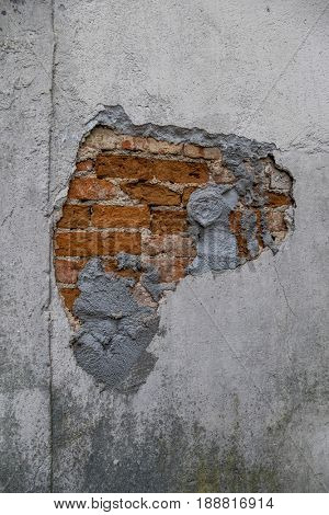 house wall broken masonry