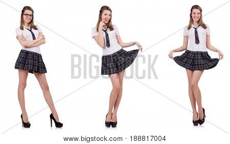 Young naughty student female isolated on white