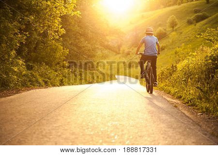 teenager riding a bicycle on the road summer sunlit