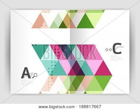 triangle print template. Modern business brochure or leaflet print A4 cover template. Abstract background with color triangles. design for workflow layout, diagram, number options or web design