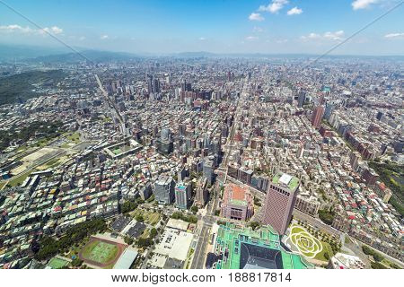 Aerial view of Taipei skyline Taiwan