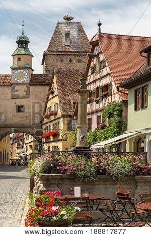 Rothenburg ob der Tauber historic town downtown in Rothenburg ODT , Franconia, Bavaria, Germany
