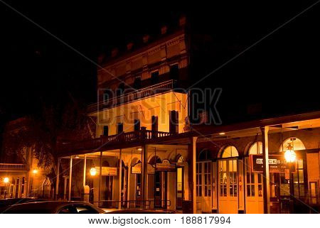 OLD SACRAMENTO, CALIFORNIA, USA - November 14, 2009: Street view of mid-1800s California Gold Rush era buildings at night