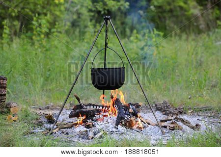 Tourist kettle over fire in green forest