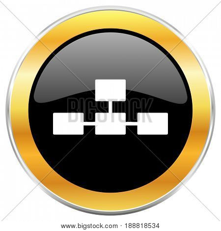 Database black web icon with golden border isolated on white background. Round glossy button.
