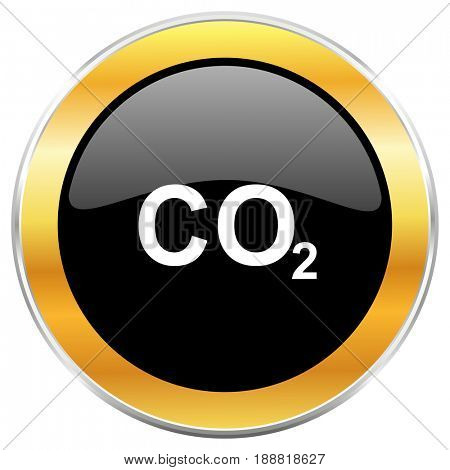 Carbon dioxide black web icon with golden border isolated on white background. Round glossy button.