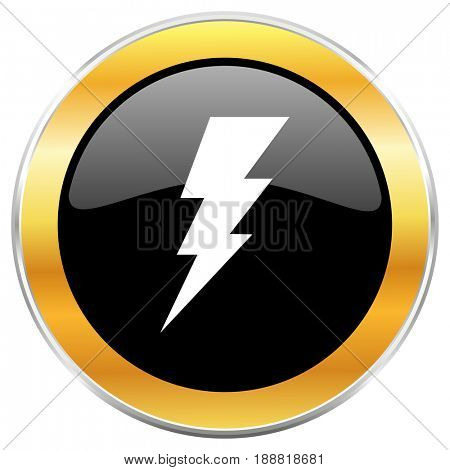 Bolt black web icon with golden border isolated on white background. Round glossy button.