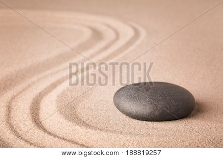 zen meditation sand and stone garden for relaxation harmony and concentration. Yoga or spa wellness background.