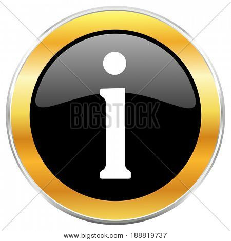 Information black web icon with golden border isolated on white background. Round glossy button.