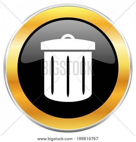 Recycle black web icon with golden border isolated on white background. Round glossy button.