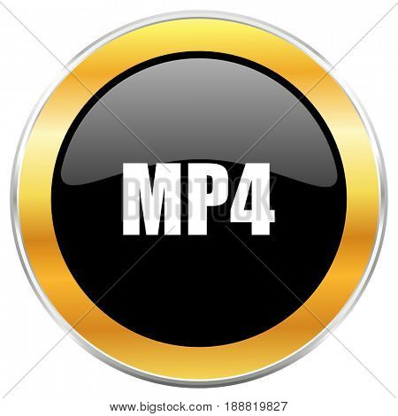 MP4 black web icon with golden border isolated on white background. Round glossy button.