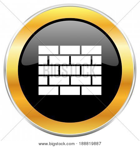 Firewall black web icon with golden border isolated on white background. Round glossy button.