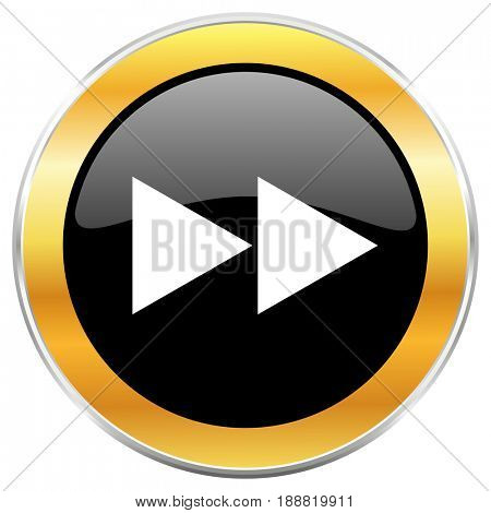 Rewind black web icon with golden border isolated on white background. Round glossy button.