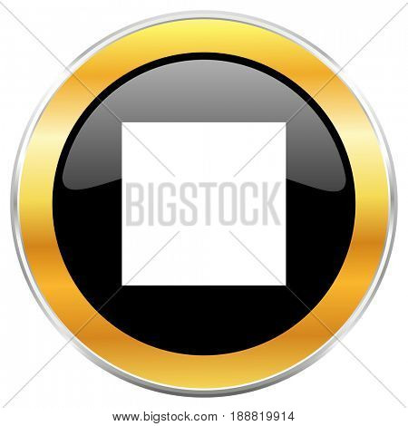 Stop black web icon with golden border isolated on white background. Round glossy button.
