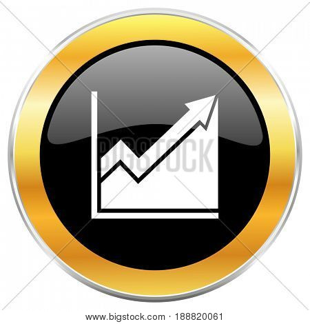 Histogram black web icon with golden border isolated on white background. Round glossy button.