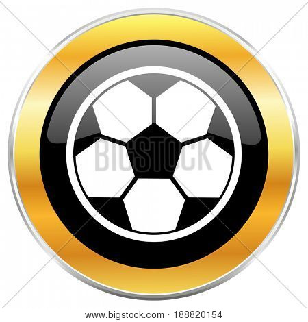 Soccer black web icon with golden border isolated on white background. Round glossy button.