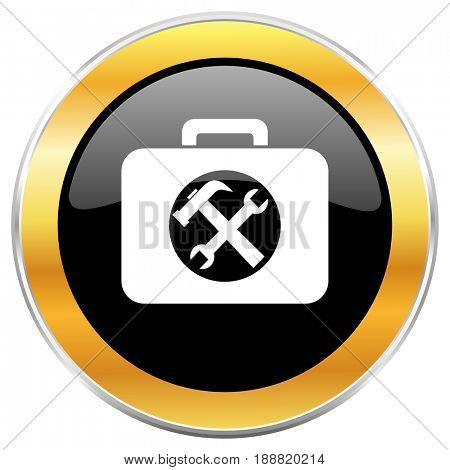 Toolkit black web icon with golden border isolated on white background. Round glossy button.