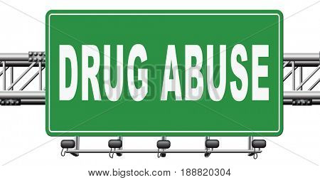 Drug abuse and addiction stop addict by rehabilitation in rehab center no drugs, 3D, illustration