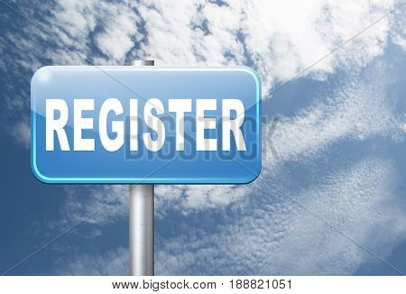 register now member registration road sign membership billboard, 3D, illustration