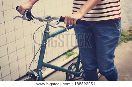 Adult Woman With Bicycle Daily Routine Lifestyle