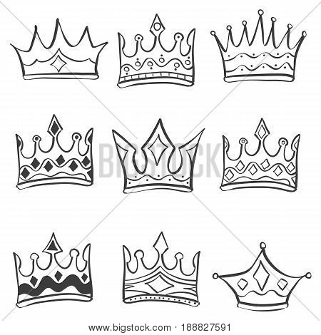 Collection stock crown various doodles vector illustration