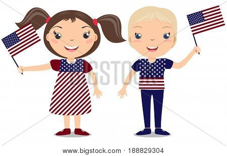 Smiling childern, boy and girl, holding a American flag isolated on white background. Cartoon mascot. Holiday illustration to the Day of the country, Independence Day, Flag Day.