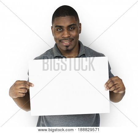African decent man is holding placard