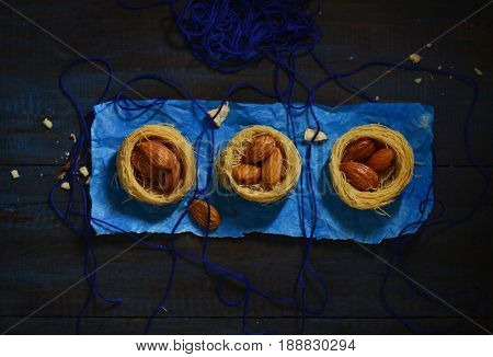 Middle-eastern food photography with modern styling. Baklava - A mediterranean sweet and savoury. Stock image.
