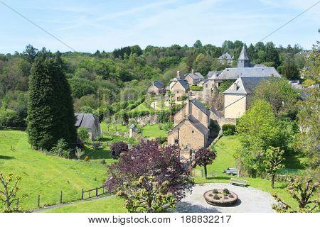 Village Treignac in French Haute Vienne in landscape