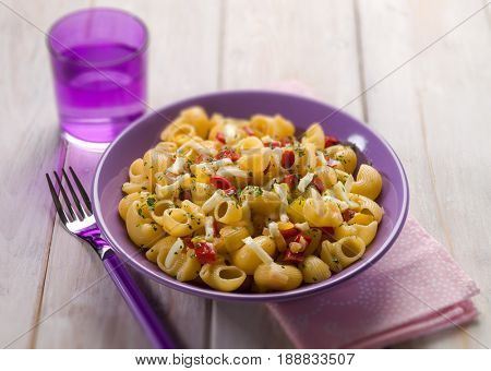 pasta with capsicum and scamorza cheese,selective focus