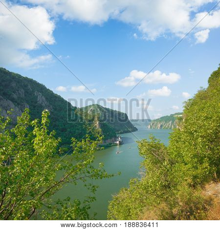 Danube River and Mraconia Monastery in Romania from Serbian coast