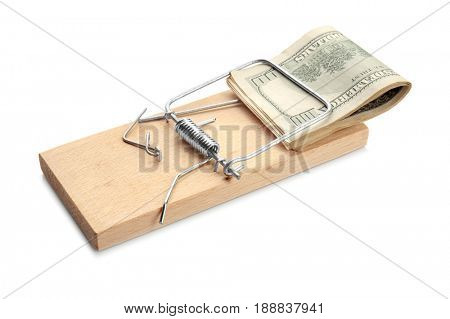 Pile of banknotes in mouse trap on white background. Concept of money bait