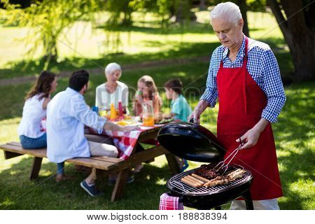 Senior man barbequing with family in background in the park