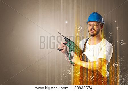Manual worker with wrench symbols and tool.