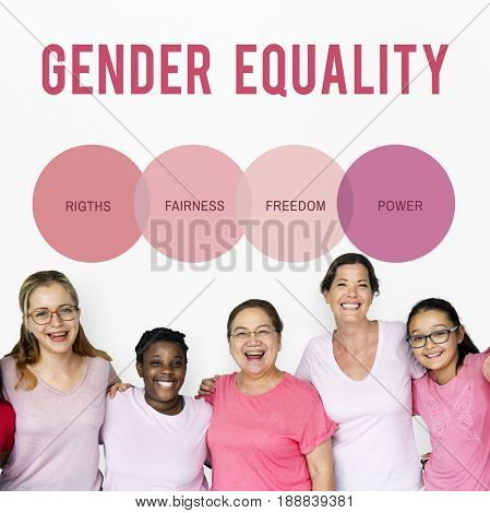 Diverse woman together with equality concept