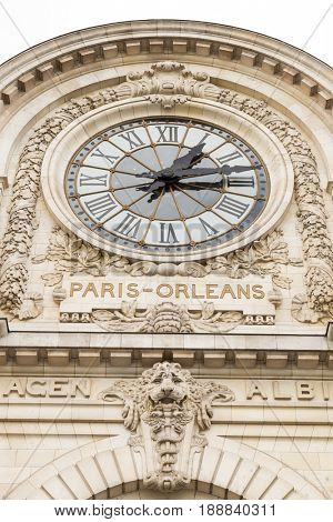view of wall clock in D'Orsay Museum. D'Orsay - a museum on left bank of Seine, it is housed in former Gare d'Orsay