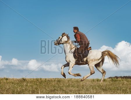 Man on horse galloping outdoor