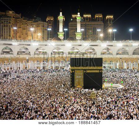 Praying in Mecca at Kaaba