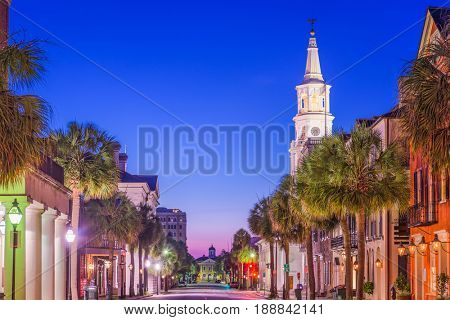 Charleston, South Carolina, USA town cityscape.