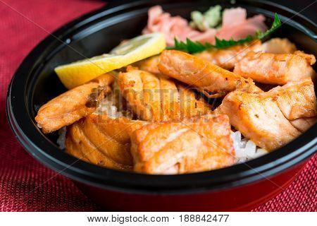 japanese food Mix Salmon Chirashi Rice Bowl