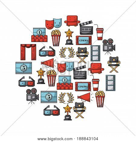 icons set movies and cinema vector icon illustration design graphic