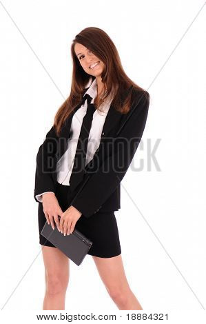 smiling stylish businesswoman in black suit with small laptop isolated on white