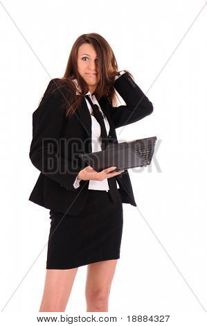 disconcerted businesswoman with black laptop isolated on white
