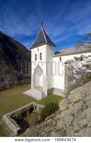 Santa Elena Hermitage, Biescas in Tena Valley, Pyrenees, Huesca Province, Aragon, Spain.